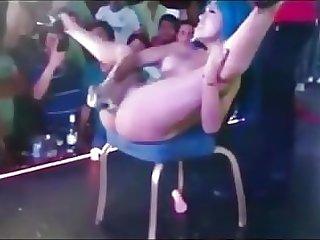 Asian Stripper public stage Bottle Insertion & Huge Squirt